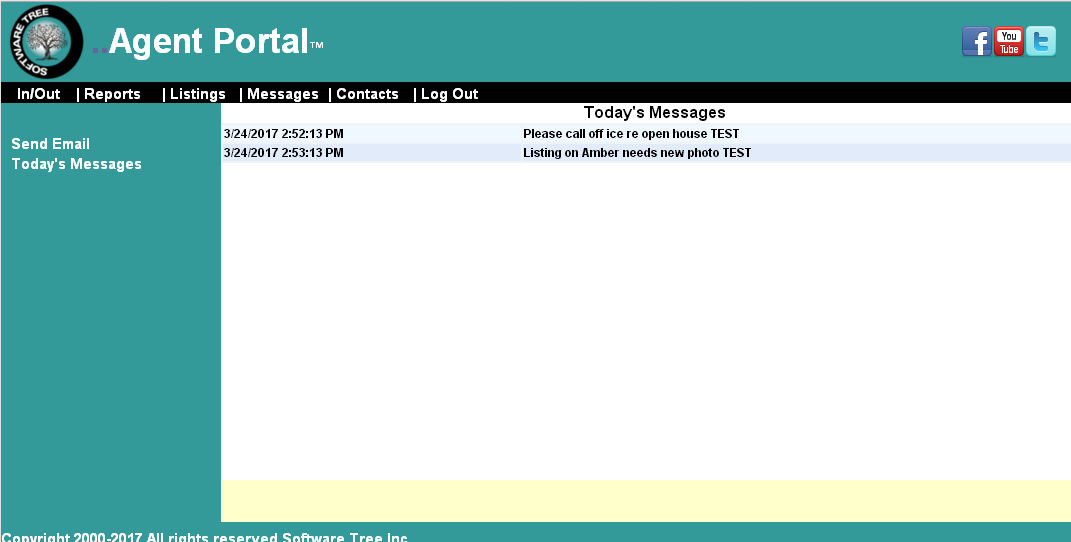 Agent Portal Todays Messages